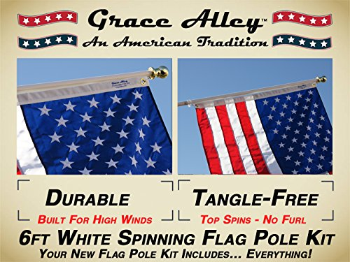 Flag Pole Kit: Includes Tangle Free Flagpole - Flag Pole Bracket and American Flag Made in USA (Best Flag Material For Outside)