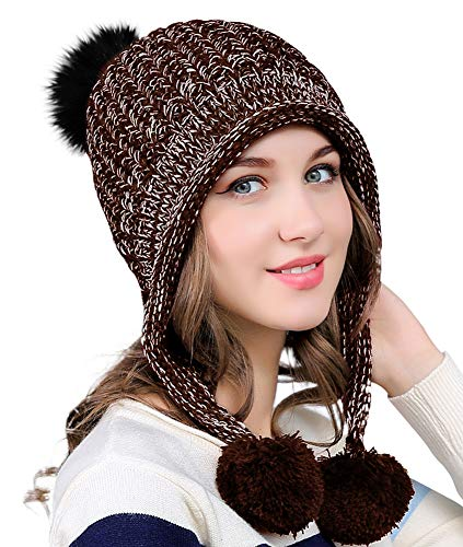 Urban CoCo Women's Winter Cable Knitted Pom Pom Beanie Hat Earflap Caps ()