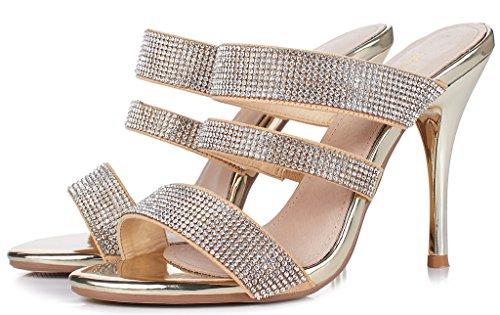 LizForm Women Stiletto Heeled Sandals Open Toe Strappy Dress Sandals Sparkle Dress Heels Shoes Gold4 Hw6z07BXh