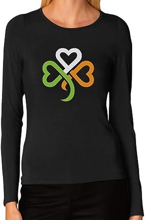 St Patrick/'s Day Big Irish Shamrocks Black Womens Long Sleeve T-Shirt