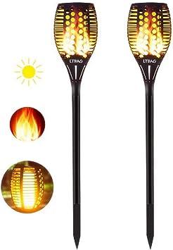 LTPAG Luces Solares Antorcha, 2pcs 96 LED Luz Solar Tiki Llamas IP65 Parpadeo Antorchas de Lámpara Calle Para Patio, Jardín, Césped: Amazon.es: Bricolaje y herramientas