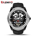 LEMFO LF17 Android 5.1 Smart Watch RAM ROM 4GB Bluetooth Smartwatch Support Heart Rate Monitor GPS Wifi SIM TF Card (Silver) 512MB