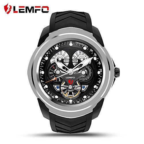 LEMFO LF17 Android 5.1 Smart Watch RAM 512MB ROM 4GB Bluetooth Smartwatch Support Heart Rate Monitor GPS Wifi SIM TF Card (Silver) by LEMFO