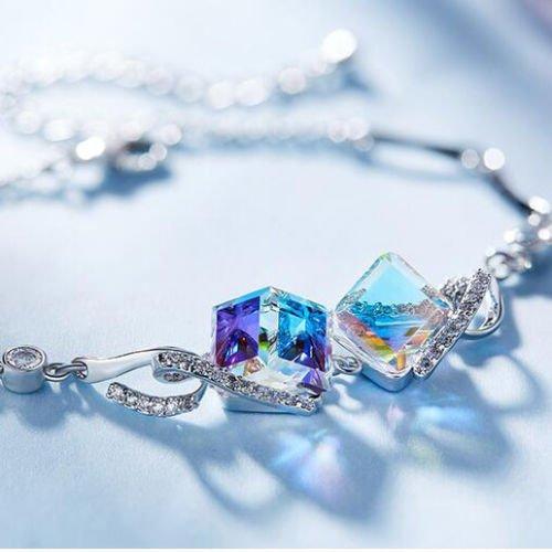 Promsup Gorgeous Woman Oval Rainbow Mystic Topaz Platinum PLated Chain Carming - Topaz Platinum Mystic