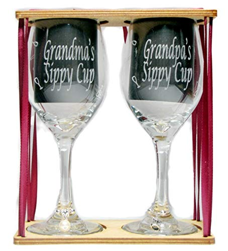 Grandma's and Grandpa's Sippy Cups Engraved Wine Glasses with Charms