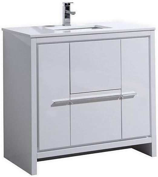 Kubebath Dolce 36 High Gloss White Modern Bathroom Vanity With