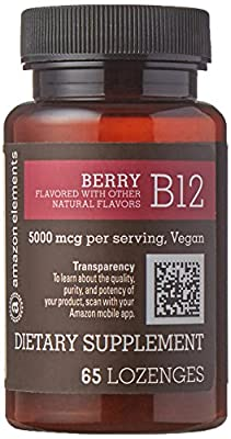 Amazon Brand - Amazon Elements Vitamin B12 Methylcobalamin 5000mcg, 65 Berry Flavored Lozenges, 2 month supply