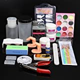 Glitter Acrylic Powder Clipper Primer Nail Art Tip Set Liquid Brush File Kit