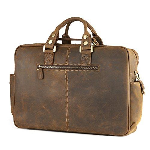 Kattee Men's Crazy-horse Leather Briefcase Luggage Handbag Shoulder Bag, Fit 16.5'' Laptop by Kattee (Image #3)