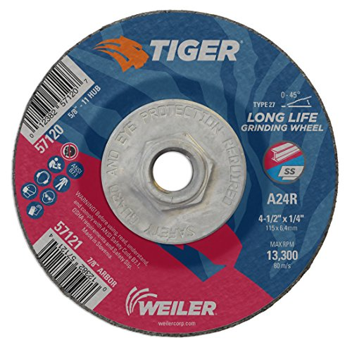 7//8 A.H. Weiler 57121 4-1//2 x 1//4 Tiger Type 27 Grinding Wheel Pack of 10 A24R