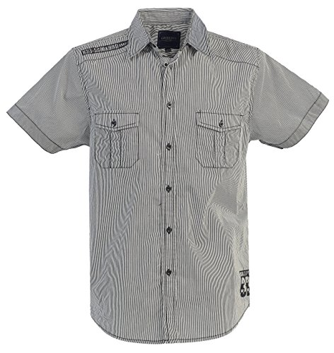 Gioberti Mens Casual Western Short Sleeve Striped Gray Shirts,100% Cotton, Large