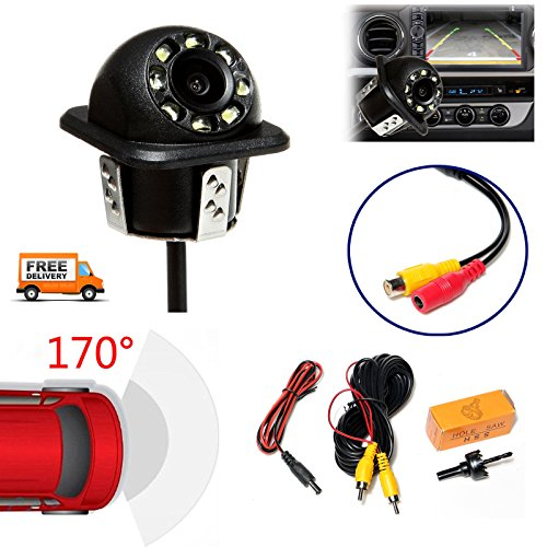 Rear View Backup Camera 170 Degree Wide Angle Wired Night Vision Waterproof RCA Connection 12V Mini Parking Camera for Car Van Truck Trailer Vehicle
