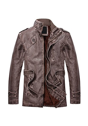 Winter Mid PU Collar Men Fit Slim Fashion for Down Motorcycle Stand XINISI and Brown Leather Long With Jacket d1UqaxnCX