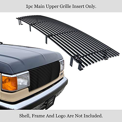 (APS Fits 1987-1991 Ford Bronco/F-150/F250/F350 Stainless Black Billet Grille Insert 8x6 Wide #N19-J90058F )