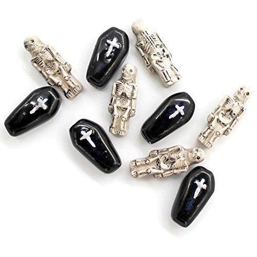 [10 - Small - Skeleton & Coffin Beads - Halloween - Novelty Beads - Ceramic Beads - Peruvian Beads] (Halloween 10)