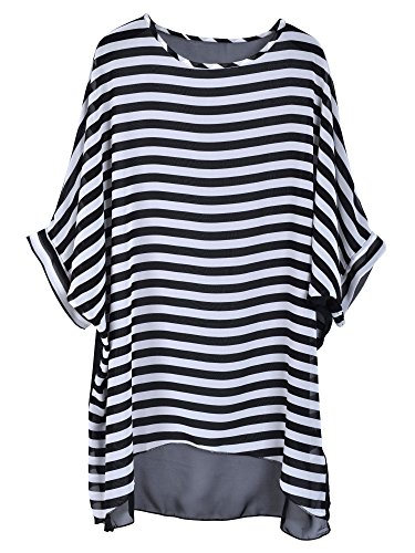 Simplicity Women's Oversized Stripe Beach Bikini Swimwear Cover-up