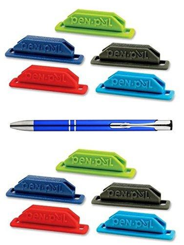 10-Pack Assorted Colors Pen Pal Pen Holders Bundle with a Refillable Plexon Ballpoint Pen