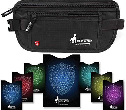 RFID Money Belt For Travel With RFID Blocking Sleeves Set For Daily Use -