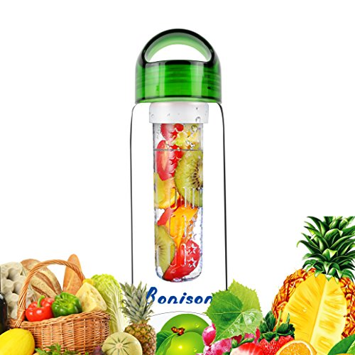 Sales-Handle Leak Proof Sporty Fruit Infuser Water Bottle BPA-Free Shatter-Proof Water Bottle BPA-Free Shatter-Proof Tritan. Create Naturally Flavored Fruit Infused Water, Juice, Iced Tea, Lemonade For Hike,yoga,Gym,Exercise 23 Oz-green
