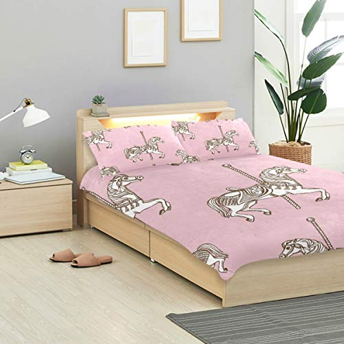 - MIGAGA Duvet Cover Set, Hand Drawn Carousel Horse Seamless Pattern, Decorative 3 Piece Bedding Sets with 2 Pillow Shams Queen Size