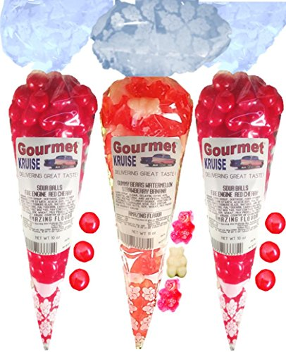 Sour Balls (2) Fire Engine Red Cherry (1) Ripe Pink Watermelon White Strawberry Banana Gummi Gummy Bears (NET WT 31 OZ) Gourmet Kruise Signature Gift -