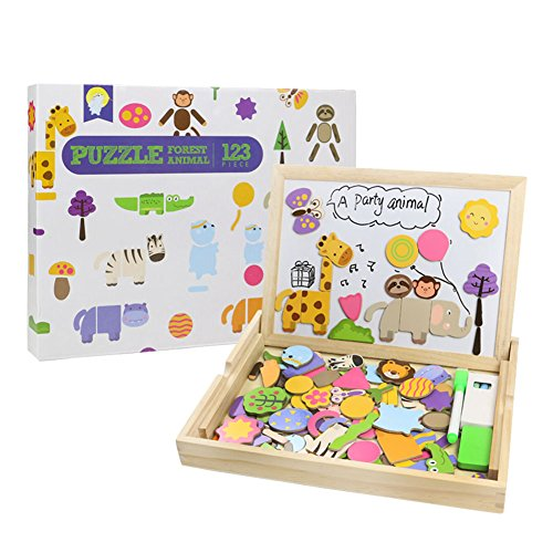 Puzzles en Bois Magnetique 123 PCS Jouet de Construction Animal ...