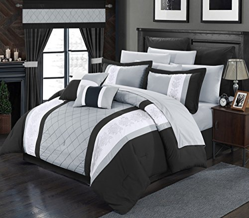 Perfect Home 24 Piece Aura Complete Pintuck Embroidery color block bedding, sheets, window panel collection Queen Bed In a Bag Comforter Set Black, Sheets Included