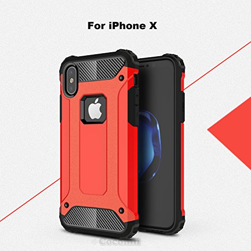 iPhone X Case, Cocomii Commando Armor NEW [Heavy Duty] Premium Tactical Grip Dustproof Shockproof Hard Bumper Shell [Military Defender] Full Body Dual Layer Rugged Cover Apple (Red)