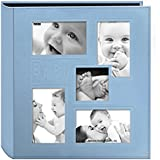 """Pioneer Collage Frame Embossed Baby Sewn Leatherette Cover Photo Album, 4""""x6"""", 240 Photos Blue"""
