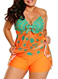 Summer Womens Sexy Halter Patchwork Printed Open Back Tankini Top Set Two Piece Swimsuits with Shorts Swimdress Swimwear Orange Large