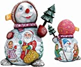 G. Debrekht Girl with Santa and Boy on Snowgirl Hand-Painted Wood Carving
