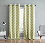 2 panel yellow curtains - HLC.ME Chevron Print Thermal Insulated Room Darkening Blackout Window Curtain Panels for Living Room - Set of 2 - 37