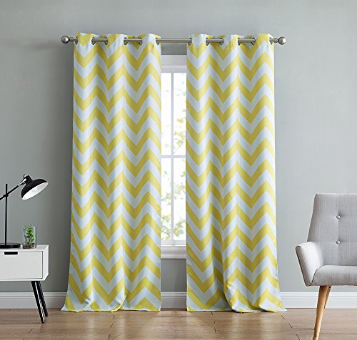 HLC.ME Chevron Print Thermal Insulated Room Darkening Blackout Window Curtain Panels for Living Room - Set of 2 - 37