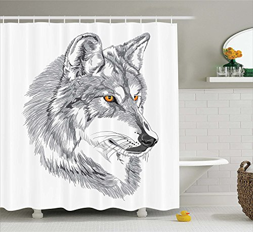 [Tattoo Decor Shower Curtain Handmade Sketch Portrait of Siberian Wolf Wild Animal Werewolf Legend Husky Artwork Fabric Bathroom Decor Set with Hooks] (Custom Werewolf Costumes For Sale)