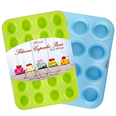 Silicone Mold Cupcake Pan by Melinda - Muffin Tin set of 2 Baking Pans - Large Muffin Top Pan 12 cups - Mini Muffin Pan 24 cup - Non Stick Bakeware Molds