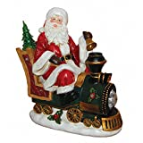 Santa Claus Riding Train with LED Light Christmas Holiday Decor Figurine Polyresin 12'' inch