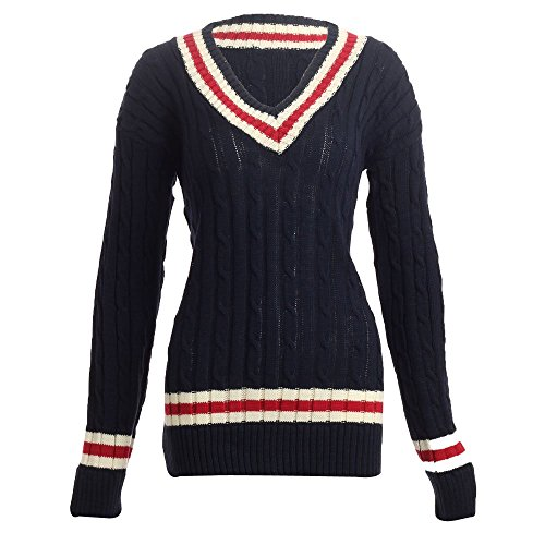 Aislinn Womens Chunky Cable Knitted Cricket Jumper One Size - Fits UK(8-14) Navy - Stripe Cricket
