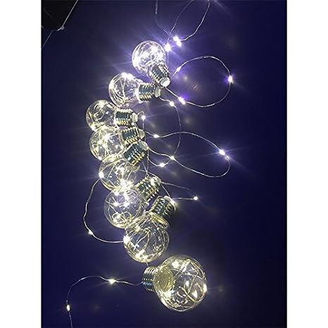 Qiyun Cinta de 10 Bombillas LED Alimentado de Batería Blanca Decoración de Casa y jardín/Fiestas/Cumpleaños/Boda (100 LED Cuentas) 3,5 m: Amazon.es: ...