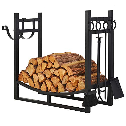 Patio Watcher 3-Foot Firewood Rack Wood Storage Log Holder with Kindling Holder and 4 Tools Indoor Outdoor Fireplace Heavy Duty Steel Black