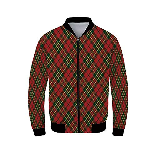 Checkered Men's Windproof Jacket,Irish Tartan Plaid Motifs in Christmas Colors Geometrical Crossed Stripes Decorative for Outdoor,XL