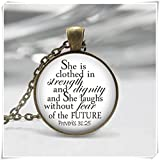 Proverbs 31:25 Woman Inspirational Necklace