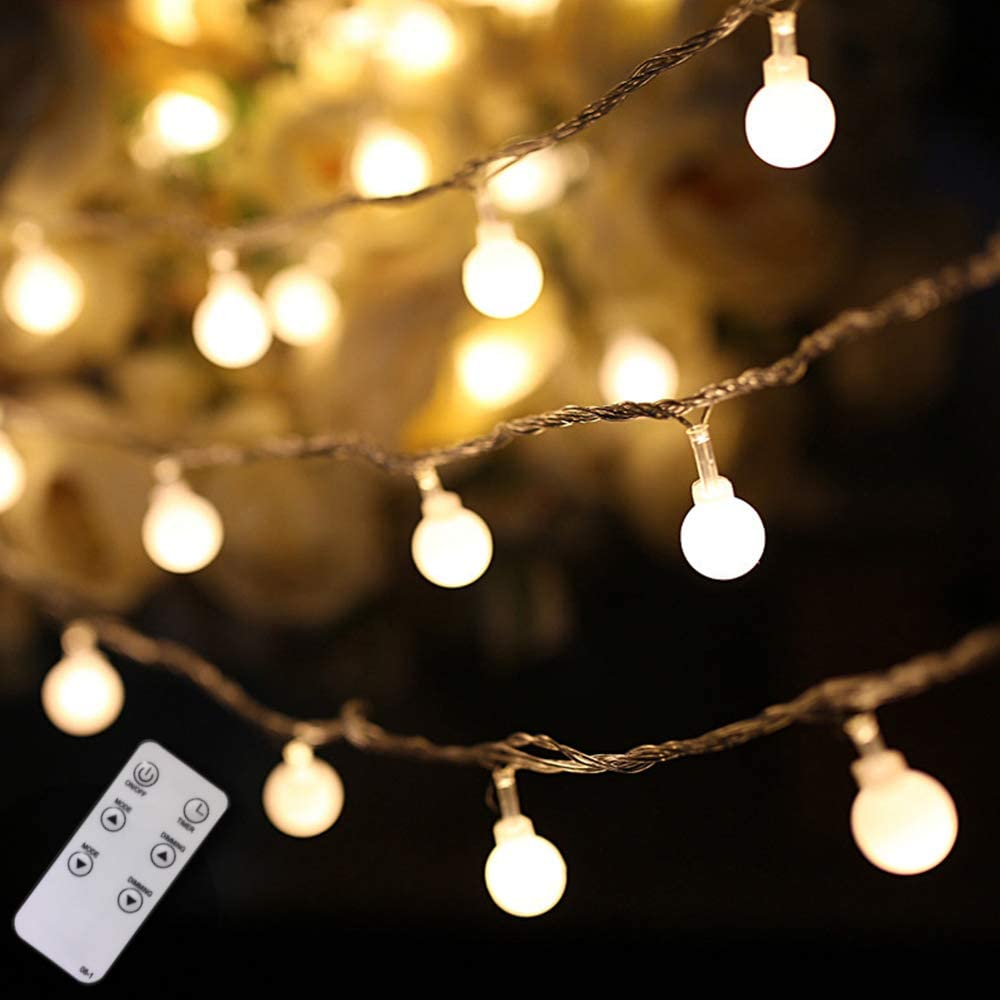 Globe String Lights, 100 LED 59 ft Globe Lights with Remote and Timer, Extendable Waterproof Fairy String Lights for Bedroom Wall Patio Party Home Wedding Indoor and Outdoor Decor, Upgrade Version