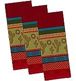 Cactus Caliente Cotton Jacquard Kitchen Towels, Set of 3