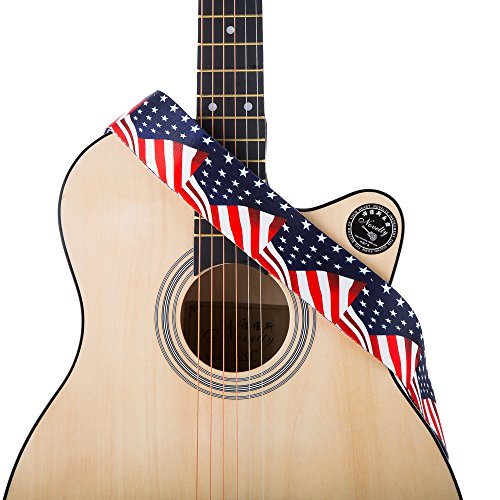 Guitar Straps for Acoustic/Electric/Bass & Guitar- US Flag Stars-2