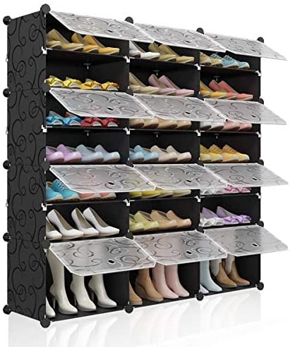 Kousi Portable Shoe Rack Organizer 48 Pair Tower Shelf Shoe Storage Cabinet Stand Expandable For Heels Boots Slippers 8 Tier Black Home Kitchen