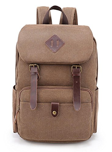 Vintage Canvas Laptop Backpack School College Rucksack Bag (Brown) - 6