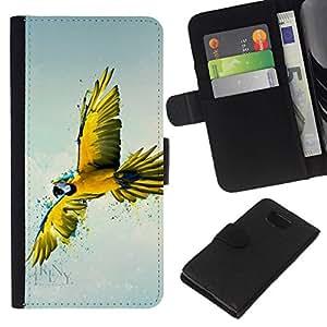 // PHONE CASE GIFT // Moda Estuche Funda de Cuero Billetera Tarjeta de crédito dinero bolsa Cubierta de proteccion Caso Samsung ALPHA G850 / Yellow Parrot Art /