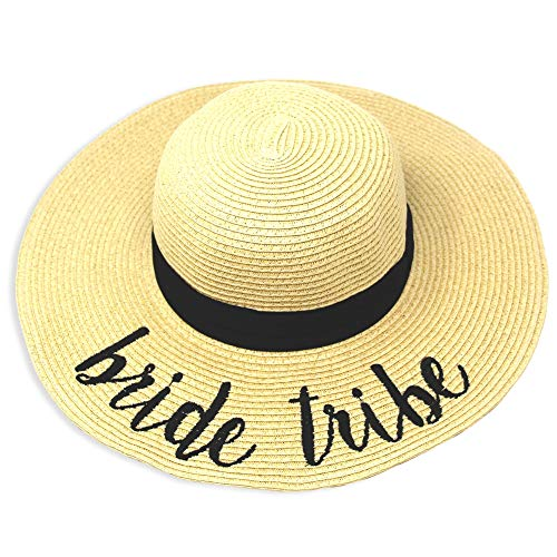 (Me Plus Women Spring Summer Beach Paper Embroidered Lettering Floppy Hats (Bride Tribe - Beige))