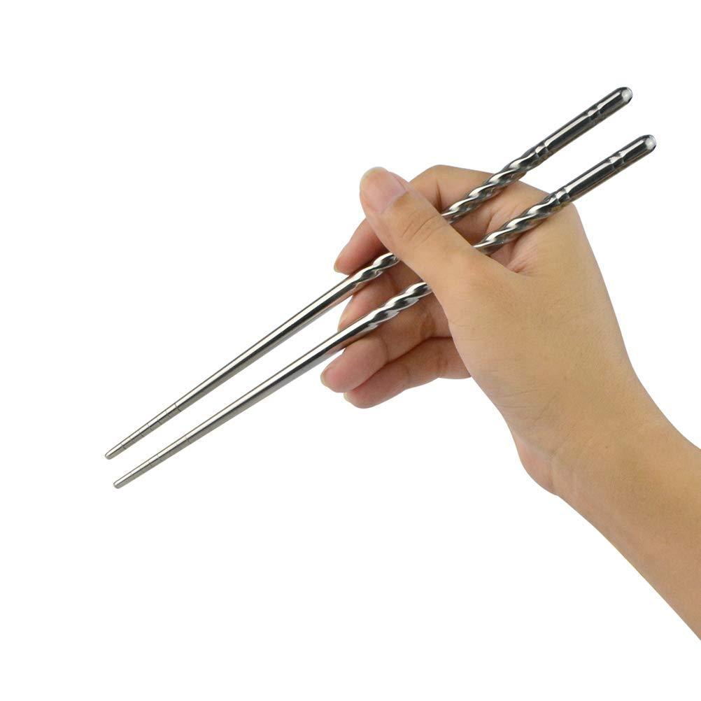 Jerbro 5 Paar Essstäbchen Chopsticks Aus Edelstahl Stäbchen Chinesische Japanische Koreanische Essstäbchen