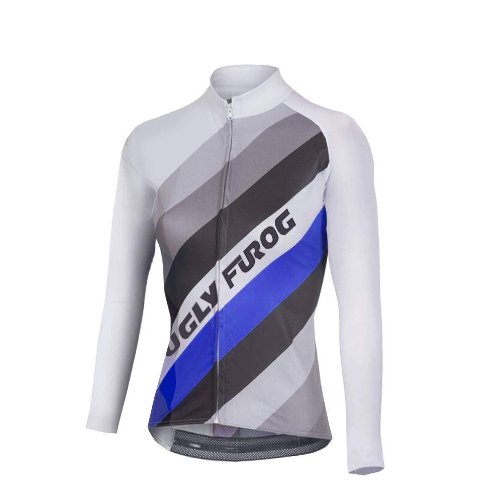Uglyfrog Newest Damen Fahrradbekleidung Langarm Radtrikot Set Outdoor Radsport Gemütlich Radkleidung Trikot Jersey + Lange Radlerhose im Winter F01